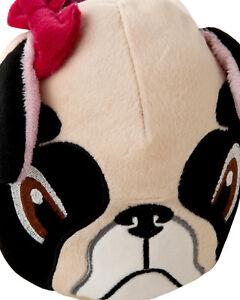 WOMENS 3D PUG STYLE DOG PLUSH SLIP ON NOVELTY ANIMAL SLIPPERS LADIES UK SIZE 3-8