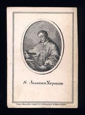 santino incisione 1800 benziger S.GIOVANNI NEPOMUCENO
