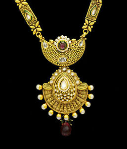 Indian Gold Plated Necklace Party Wear Kundan Rani Haar Pearls Wedding Jewelry