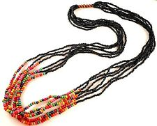 1 Multi Strand Black & Rainbow Wood Beaded Fashion Necklace - # B180