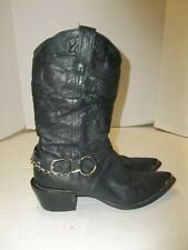 Womens Size 7M Durango Crush Black Leather Slouch Cowboy/Western Boots