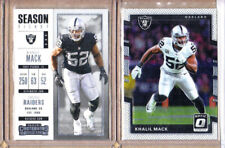 Khalil Mack-2 Card Lot-2017 Donruss Optic+2017 Contenders-Raiders-Bears-NM-MT