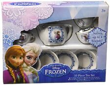 New Disney Frozen Kids Role Play 10 Piece Ceramic Kitchen Fun Tea Set