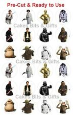 24 x STAR WARS CHARACTER MIX Edible Wafer Cupcake Toppers PRE-CUT Ready to Use