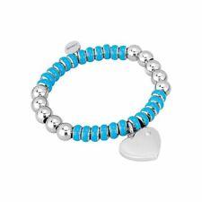 2JEWELS bracciale da donna 231366S acciaio cuore elastico brillantino turchese