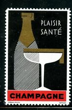 France Champagne Fruit Wine Grapes Poster Stamp Plaisir Sante Bottle & Glass MNH