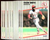 1989 Fleer OZZIE SMITH ~ 20 CARDS LOT #463 ~ CARDINALS HOF HALL OF FAME INDUCTEE