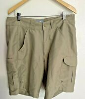MEN'S WORLD WIDE SPORTSMAN Khaki 100% Polyester CARGO Fishing SHORTS SIZE 36