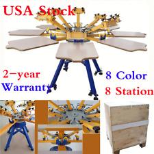 USA! 8 Color 8 Station Screen Printing Machine Press T-shirt Printer Equipment