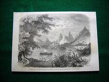 Gravure année 1860 vue prise sur les còtes de Vanoua-Levou