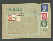 1942 German Registered Cover From Diekirch Luxembourg to Wilz Poland