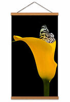 Butterfly Yellow Flower Nature Canvas Wall Art Print Poster with Hanger 24x12