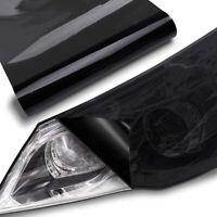 "12""X 72"" Gloss Dark Black Smoke Headlight Taillight Fog Light Tint Film Vinyl"
