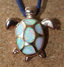 white fire opal necklace pendant gems rose gold filled jewelry Turtle cocktail