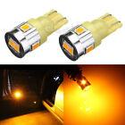 2x T10 921 High Power 2835 6 LED Amber License Plate Interior Light Bulb Lamp