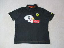 Puma Ferrari Polo Shirt Adult Large Black Red Fernando Alonso Racing Racer Men
