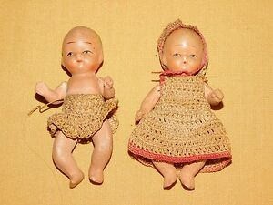 """VINTAGE  2 MADE IN OCCUPIED JAPAN 3"""" HIGH MINI DOLLS"""