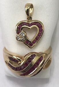 14k Solid Yellow Gold Ruby Diamond Heart Pendant and Ring Jewelry Set
