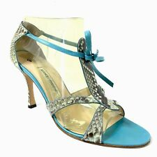 Manolo Blahnik Snake Sandals Blue Green Women's 9.5 39.5