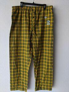 NFL Green Bay Packers Lounge Pants XL Team Apparel Sleepwear Green Yellow Plaid