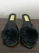 Unique Vintage 50s Black Boudoir Slipper Heels Fur Size 6 Slides Mules Peep Toe