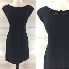 Rebecca Taylor black stretch knit jeweled LBD dress classic chic mini 6 M