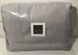 Bellino Italy 100% Linen Pale Grey King Duvet Cover Set 2 Shams w/ Border Flange