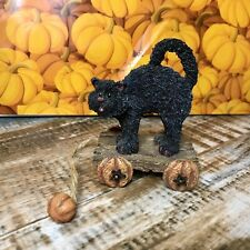 Boyds Bear Halloween Scaredy Cat Tug Along Pull Toy Figurine Pumpkin Tbc 2002