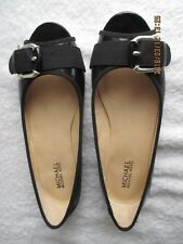 Women's Shoes Michael Kors 7-1/2M Black Patent Leather Peep Toe Ballet Flats New