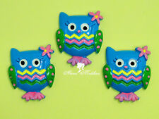 10 pcs Blue Owl Resin Cabochon Bow Center Cupcake Topper Party Decor