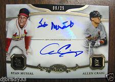 2013 Topps Tier One Stan Musial Allen Craig 1/1 Dual Autograph Card 06/25