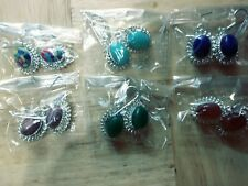 Lot of 6 Mixed Colors dangle Silver Plated Earrings NEW
