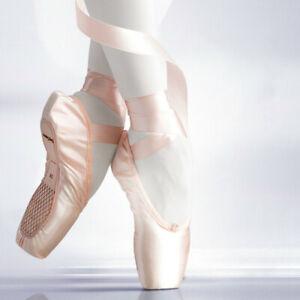 Neu Mädchen Damen Schuhe Ballett Schläppchen Spitzentanz mit Band Ballettschuhe