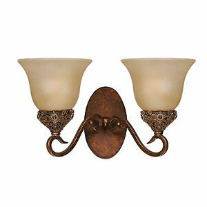 Wall Sconce Antiqued Gold Crown Jewel Triarch 39640/2 2 Light Bathroom Hall