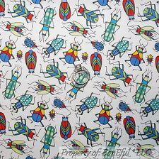 BonEful Fabric FQ Cotton Quilt White Red Green Blue Bug S Ladybug Beetle Boy Kid