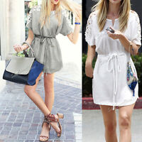 Women Summer Sexy Lace Floral Casual Short Evening Party Mini Dress Fashion