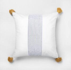 Hearth & Hand with Magnolia Decorative Tassel Throw Pillow Blue Center Stripes