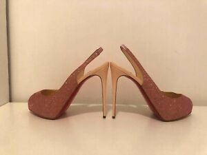 Christian Louboutin Private Number 120 Glitter pink patent heels pumps sz39 RARE