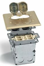 LEW ELECTRIC SWB-4-PQ-LR FLOOR BOX & BRASS COVER  2 GANG