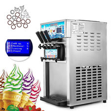 220v Commercial Soft Ice Cream Machine 3 Flavors Frozen Yogurt Cone Maker CE