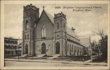 Brighton MA Cong Church c1910 Postcard