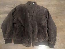 Roundtree & Yorke Suede Leather Bomber Flight Jacket Mens Size Large