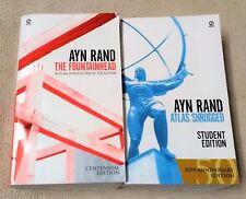 THE FOUNTAINHEAD & ATLAS SHRUGGED Ayn Rand 2 Book Lot Centennial & 50th An. Ed.