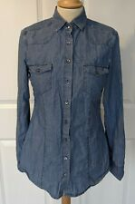 MASSIMO DUTTI BLUE DENIM FITTED SHIRT SIZE 10 EXCELLENT CONDITION
