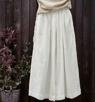 Summer Womens Vintage Palazzo Loose Casual Cotton Linen Pants Long Trousers size