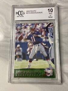 2000 Pacific Premiere Date Patriots Football Card #216 Drew Bledsoe BCCG 10