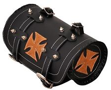 Tan Iron Cross Gothic Motorcycle Biker Leather Tool Rool Bag