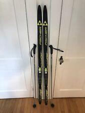 Fischer RCS Sprint Crown Cross Country Skis 160 + Rottefella NNN Bindings +Poles