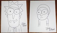 Justin Roiland Signed 11x14 Drawings of Rick and Morty Individual Exact Proof
