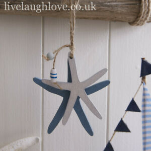 Set Of 2 Decorative Nautical Hanging Wooden Starfish 20x9cm
